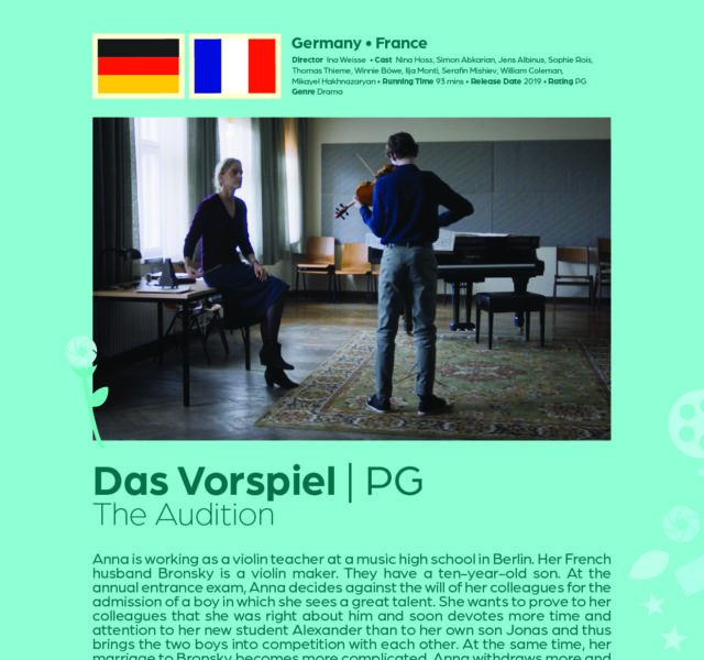 Poster giving synopsis for the European film Das Vorspiel (The Audition), an entry in the Cine Europa 24 Film Festival