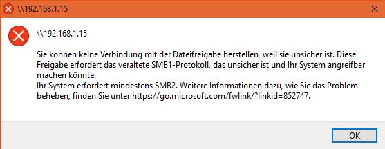 SMB1-Protokoll ist nicht aktiv