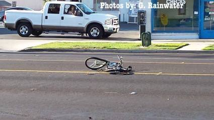 The bicycle hit in the accident remained in the roadway during the accident investigation. Gary Rainwater photo
