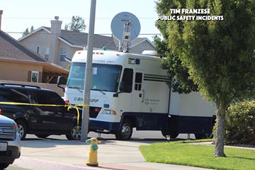 A sheriff's mobile command center was brought to where the Sunday morning's pursuit ended. Robert Carter/Public Safety Incidents photo