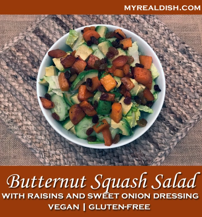 butternut squash salad with raisins & sweet onion dressing