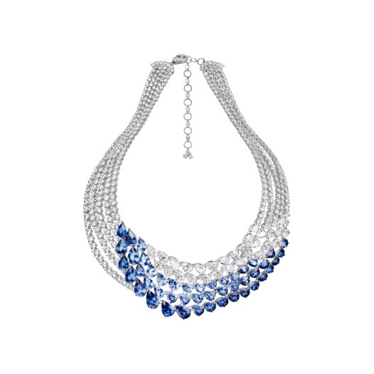"""Necklace """"L'Oiseau bleu"""" in 18kt white gold set with 46 pear-shaped sapphires 60.64 cts, 33 pear-shaped diamonds 23.36 cts and 490 diamonds 51.82 cts"""