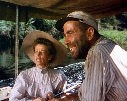 "CHARLIE ALLNUT (HUMPHREY BOGART) AND ROSE SAYER (KATHERINE HEPBURN) ABOARD ""THE AFRICAN QUEEN"" *** Local Caption *** Feature Film"