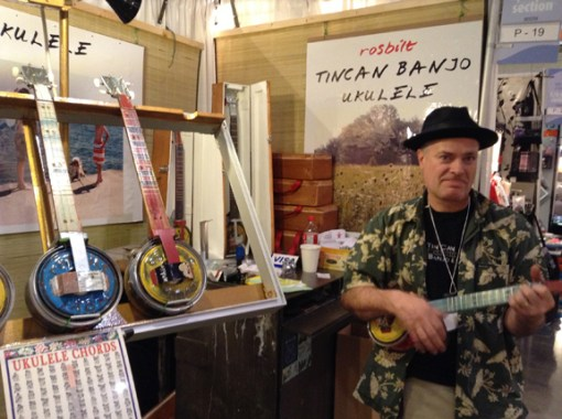 Ross Stuart makes tin can banjos and ukuleles that sound fantastic. You won't find anything this original at the mall.