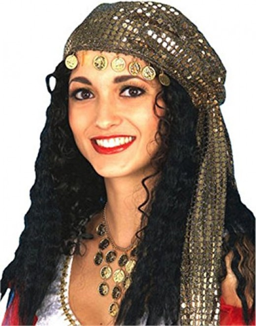 What do you think of when picturing a gypsy? Long black hair warn loosely, a bright scarf to wrap it up and gold coin jewelry.