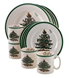 Spode Christmas Tree 12-Piece Dinnerware Set, Service for 4