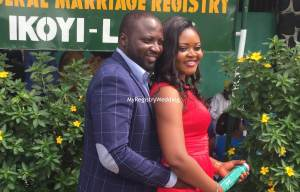 Olayinka say I do to Akinbowale on the 3rd of December 2015 at Ikoyi Registry. Wishing them a fruitful union. See more pics from the cut...