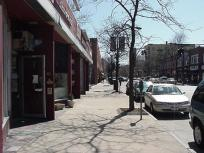 Sidewalk view to the south of the store
