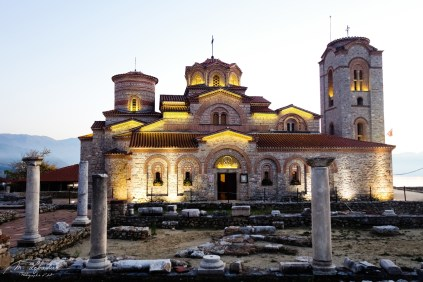 Lighted Church of Saints Clement and Panteleimon by night in Ohrid in Macedonia