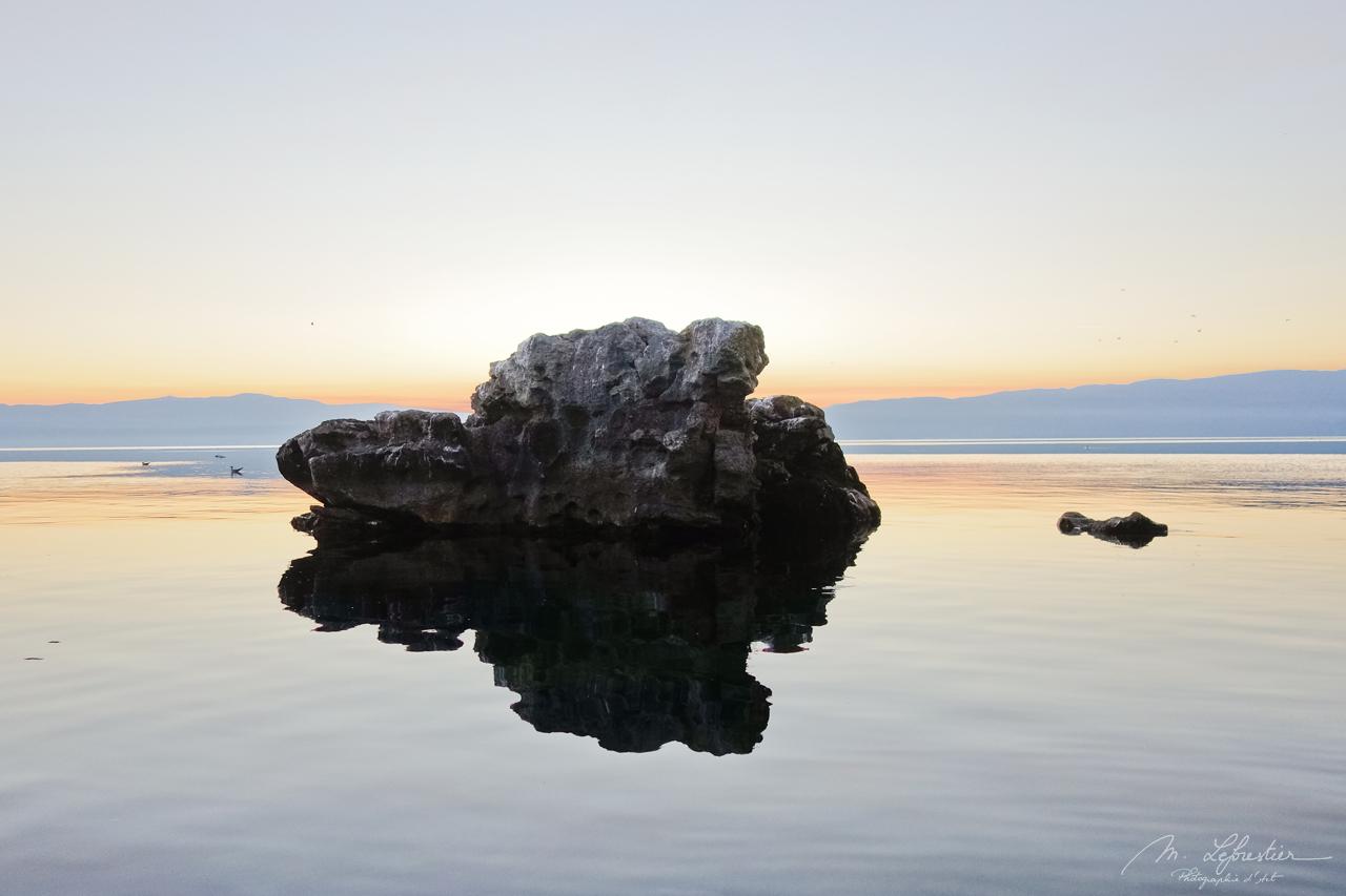 reflection of rocks in Lake Ohrid Macedonia