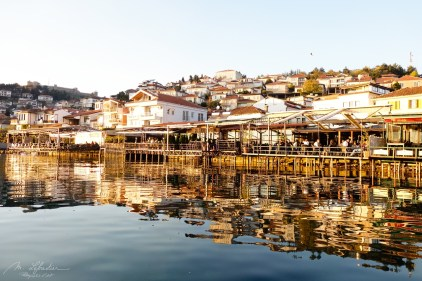 reflections of the macedonian lovely town of Ohrid as seen from the lake Ohrid
