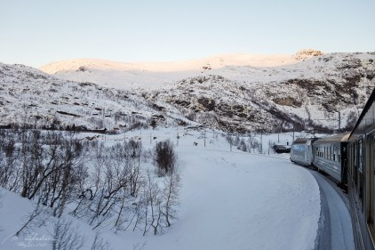 flam railway scenery in the winter