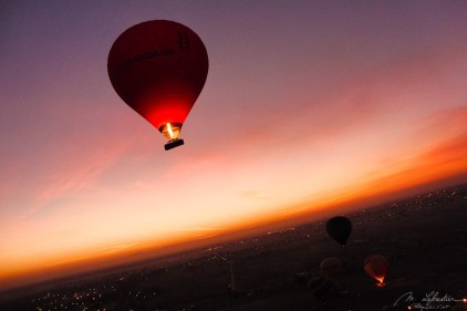 Hot air balloon ride in the Valley of the Kings at sunrise