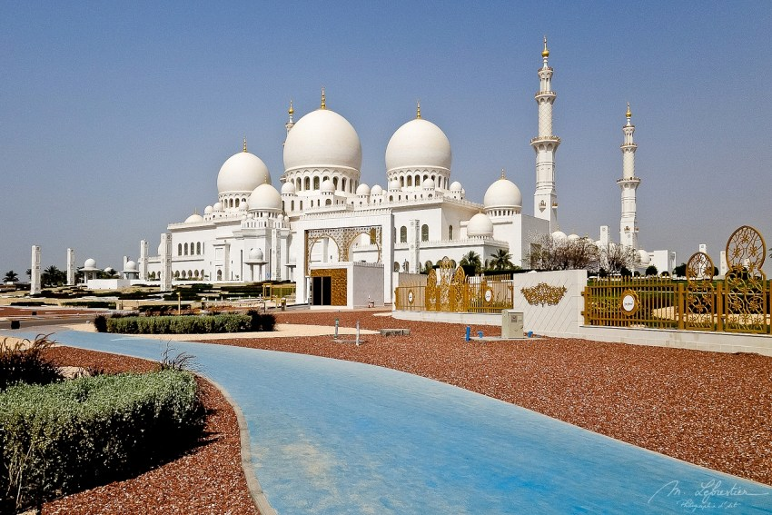 view of the Sheikh Zayed Grand Mosque in Abu Dhabi