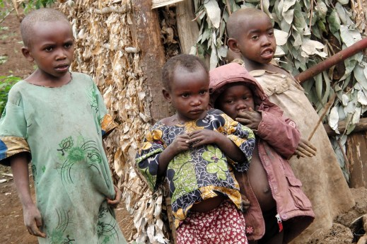 kids from a twa tribe photographed in a pygmy village inRuhengeri Rwanda