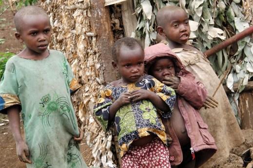 kids from a twa tribe photographed in a pygmy village inRuhengeri Rwanda