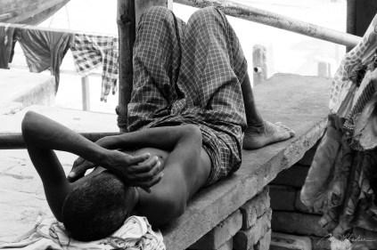 man sleeping in Varanasi India