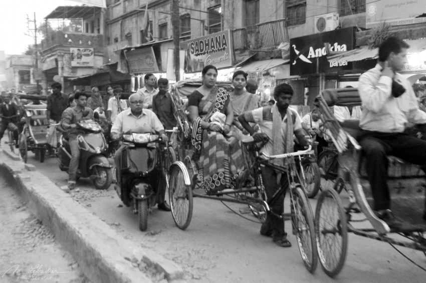 busy streets in Varanasi India
