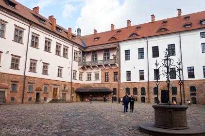 Courtyard of the Mir castle in Belarus