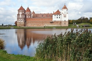 beautiful Mir castle in Belarus with reflections on the water