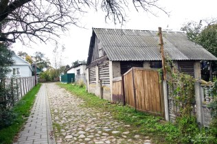 walking around in the village of Mir by the castle in Belarus