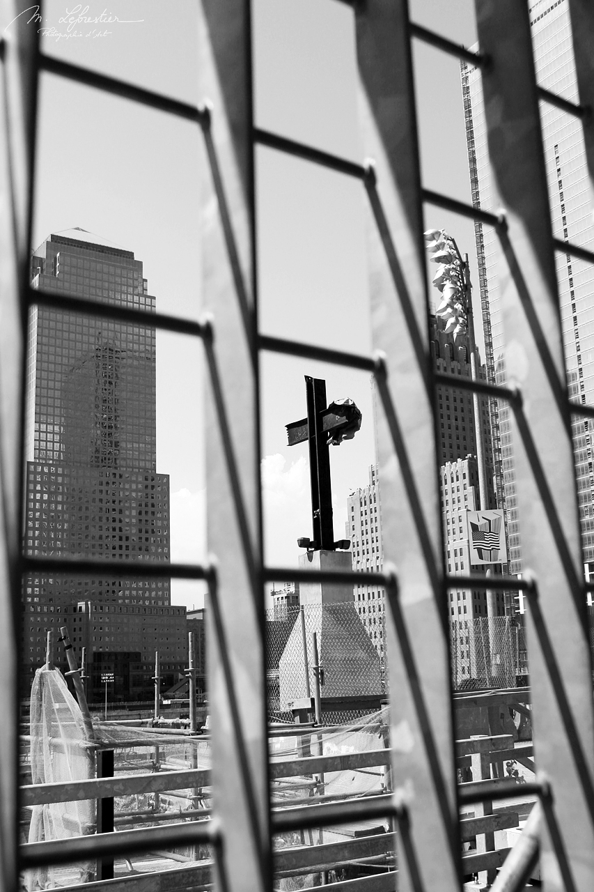 black and white picture of the Cross of the Ground Zero in New York in 2005 where the world trace center WTC towers used to be