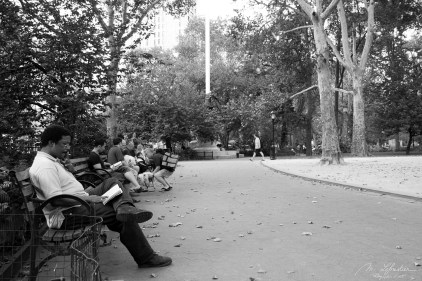 people chilling and reading in Madison park in New York city NYC USA photo in black and white