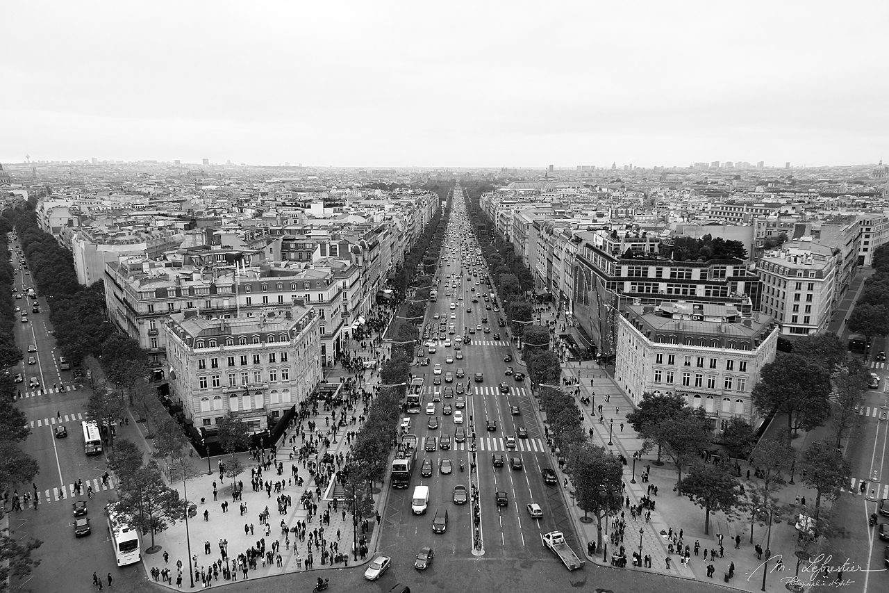 view of Paris from the top of the Arc de Triomphe