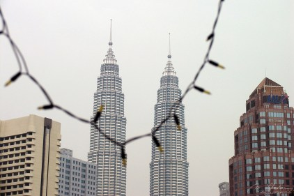 Petronas Towers by day in Kuala Lumpur Malaysia tallest in the world