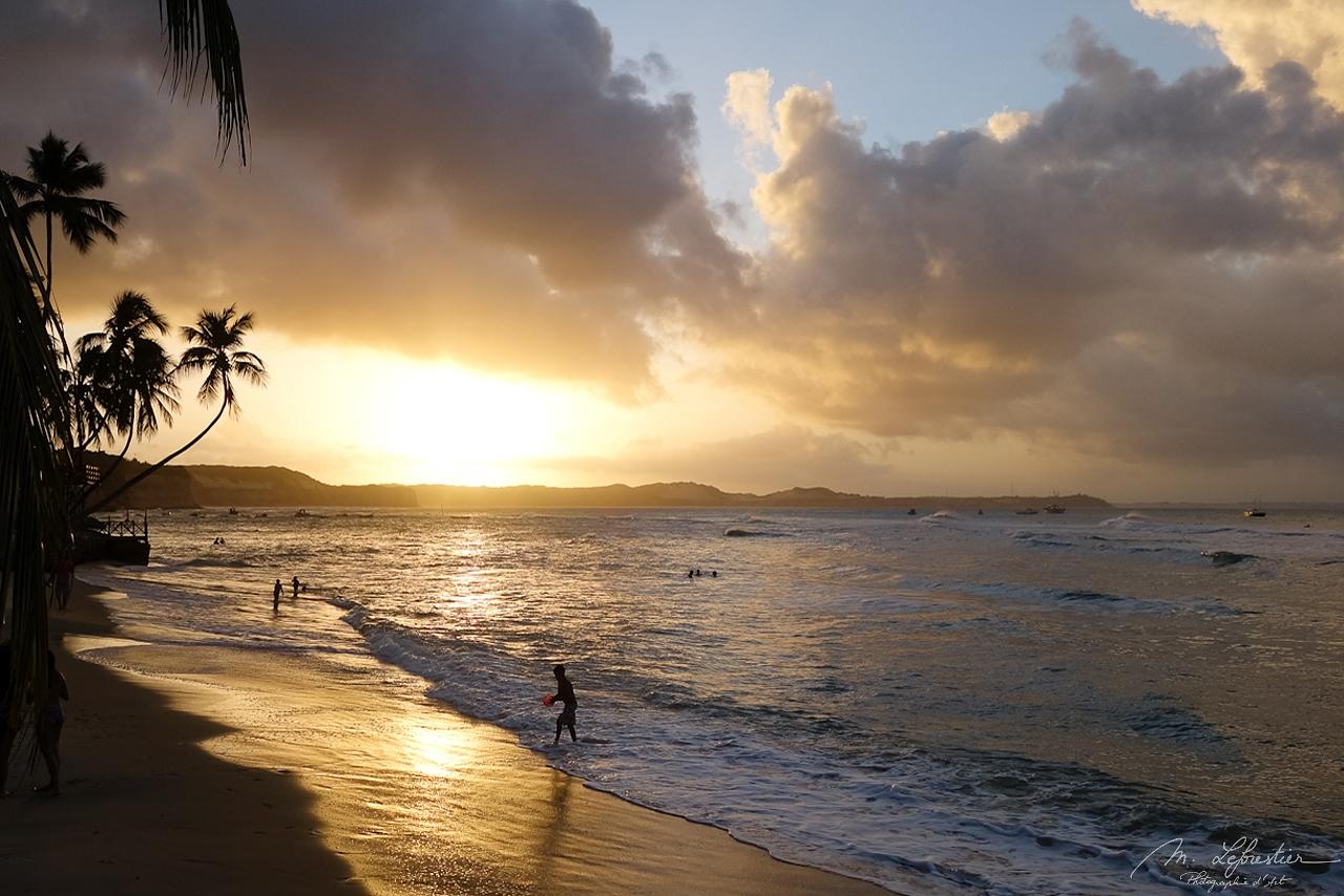 beautiful sunset on the beach in Pipa Brazil