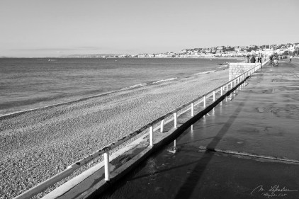 black and white photo of the Promenade des Anglais in Nice France