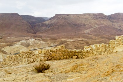 ruins of the fortress of masada in israel where people committed a mass suicide