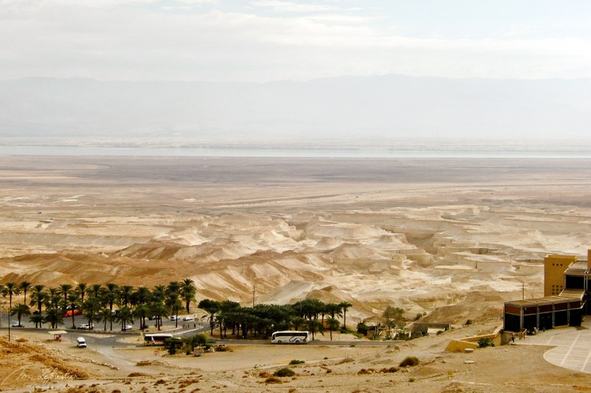 view from the Masada archeological site in Israel with the dead sea in the back