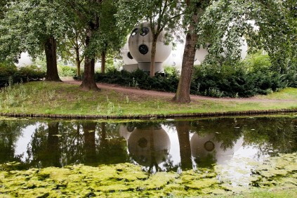 reflections of the Bolwoningen housing shaped as balls in den Bosch the Netherlands