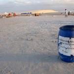 litter bin in Jericoacoara beach in Brazil