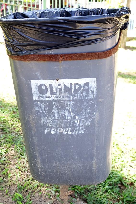 a street litter bin in Olinda Brazil