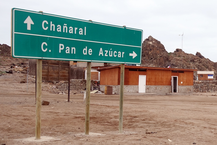 a litter bin at the entrance of the national park Pan de Azucar in Chile