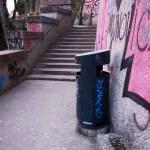 a litter bin in the Zakmardija street in Zagreb Capital of Croatia