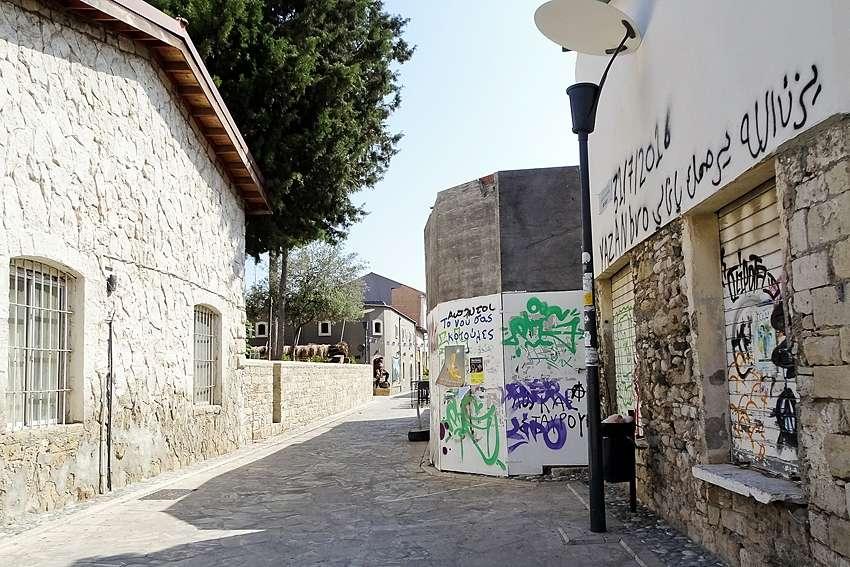 a litter bin in a street in Limassol Cyprus
