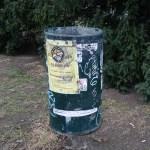 a litter bin in a park in Prague capital of the Czech Republic