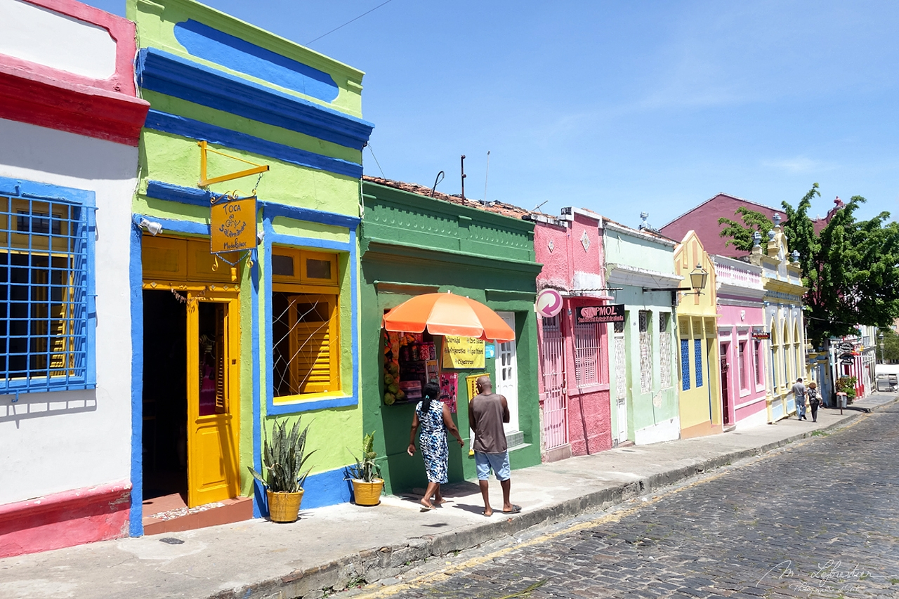 people in the streets of Olinda, a colorful well preserved colonial town in Pernambuco Brazil