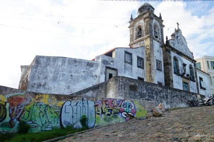 Exterior view facade of antique colonial Misericordia church building in Olinda Pernambuco Brazil built in 1631