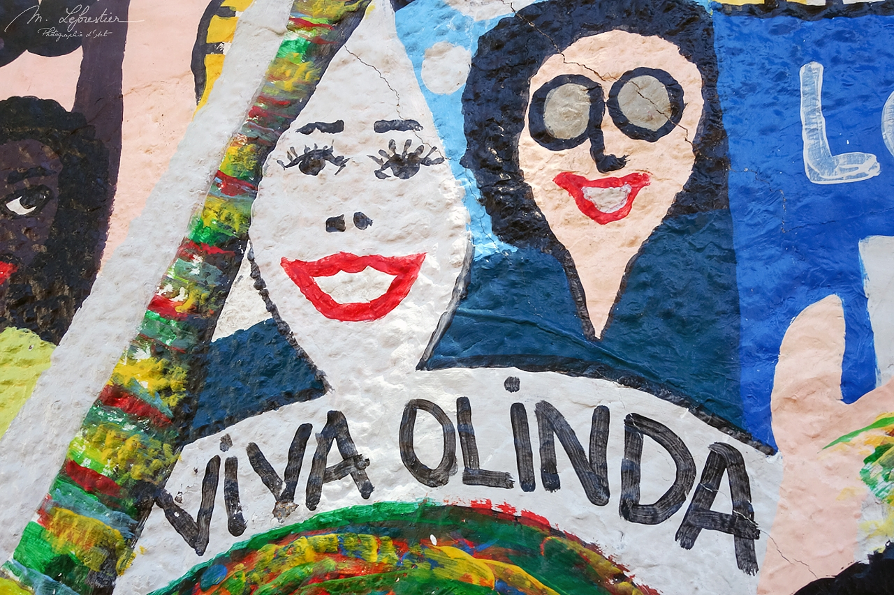 graffiti saying VIVA OLINDA with two smiling faces in the street of Olinda Pernambuco in Brazil