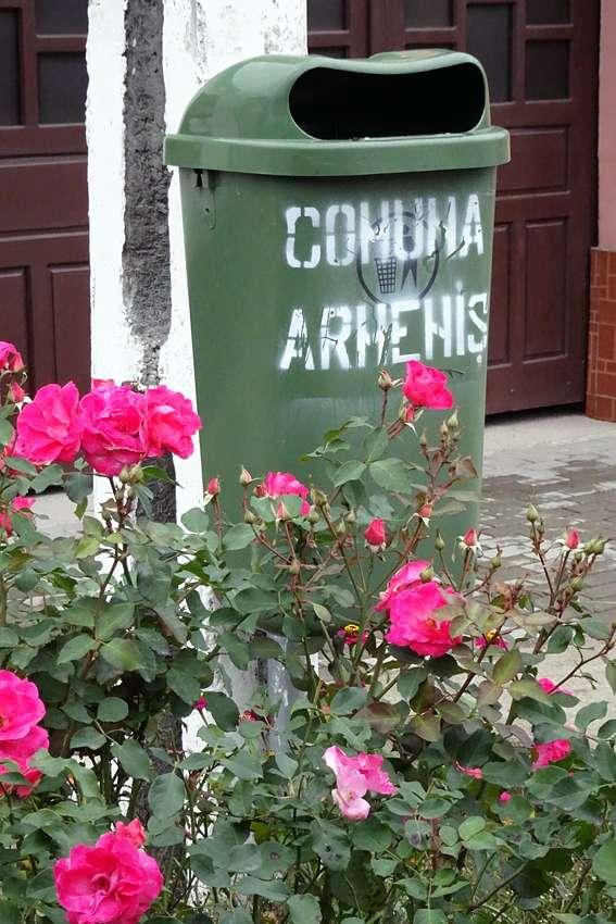 a litter bin in the street in Comuna Armenis Romania