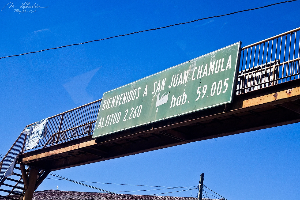 sign arriving at the village of San Juan de Chamula in Chiapas Mexico altitude 2260 meters 59005 inhabitants