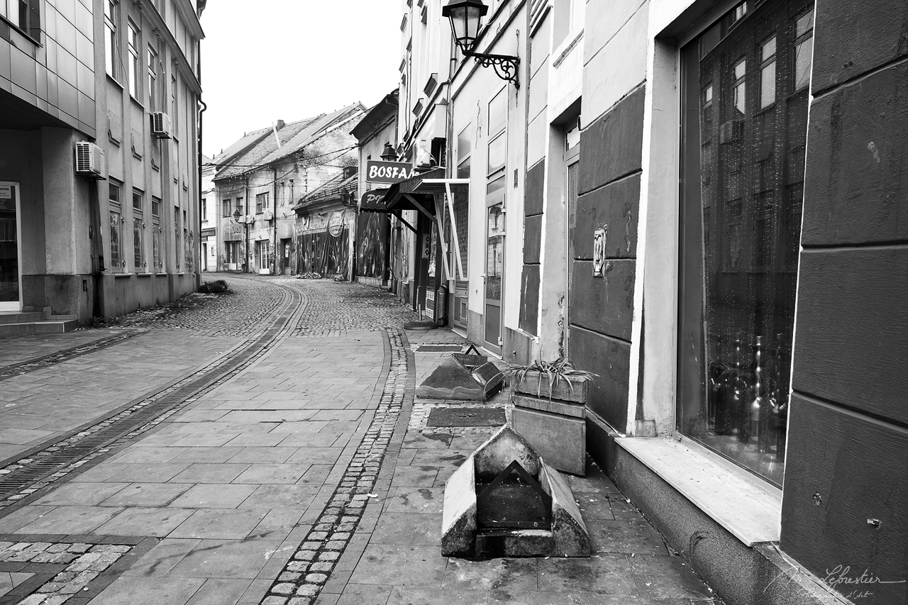 empty street in the city of Tuzla in the north east of Bosnia Herzegovina