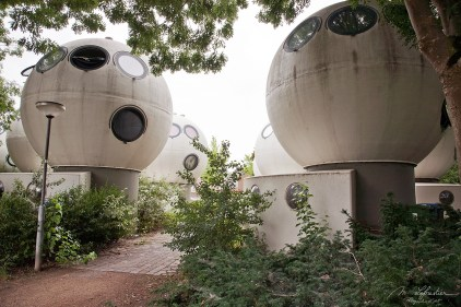 walking by the Bolwoningen in den Bosch the Netherlands unique forms of houses shaped as balls