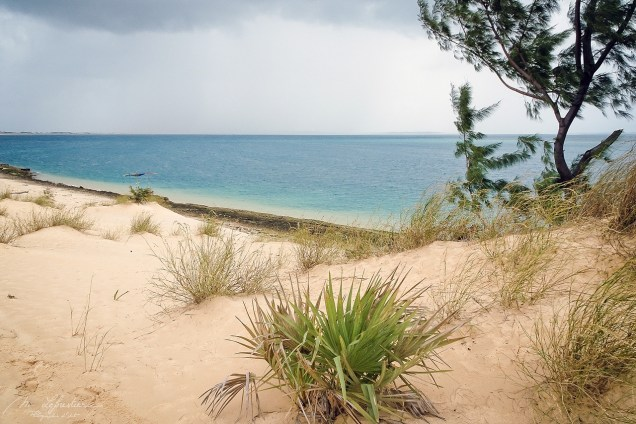 view from the sand dunes in the Bazaruto island as a storm just passed by