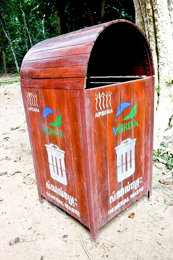 a litter bin in the complex of Angkor Wat in Siem Reap Angkor Cambodia