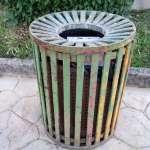 an older green bin in Tirana Albania